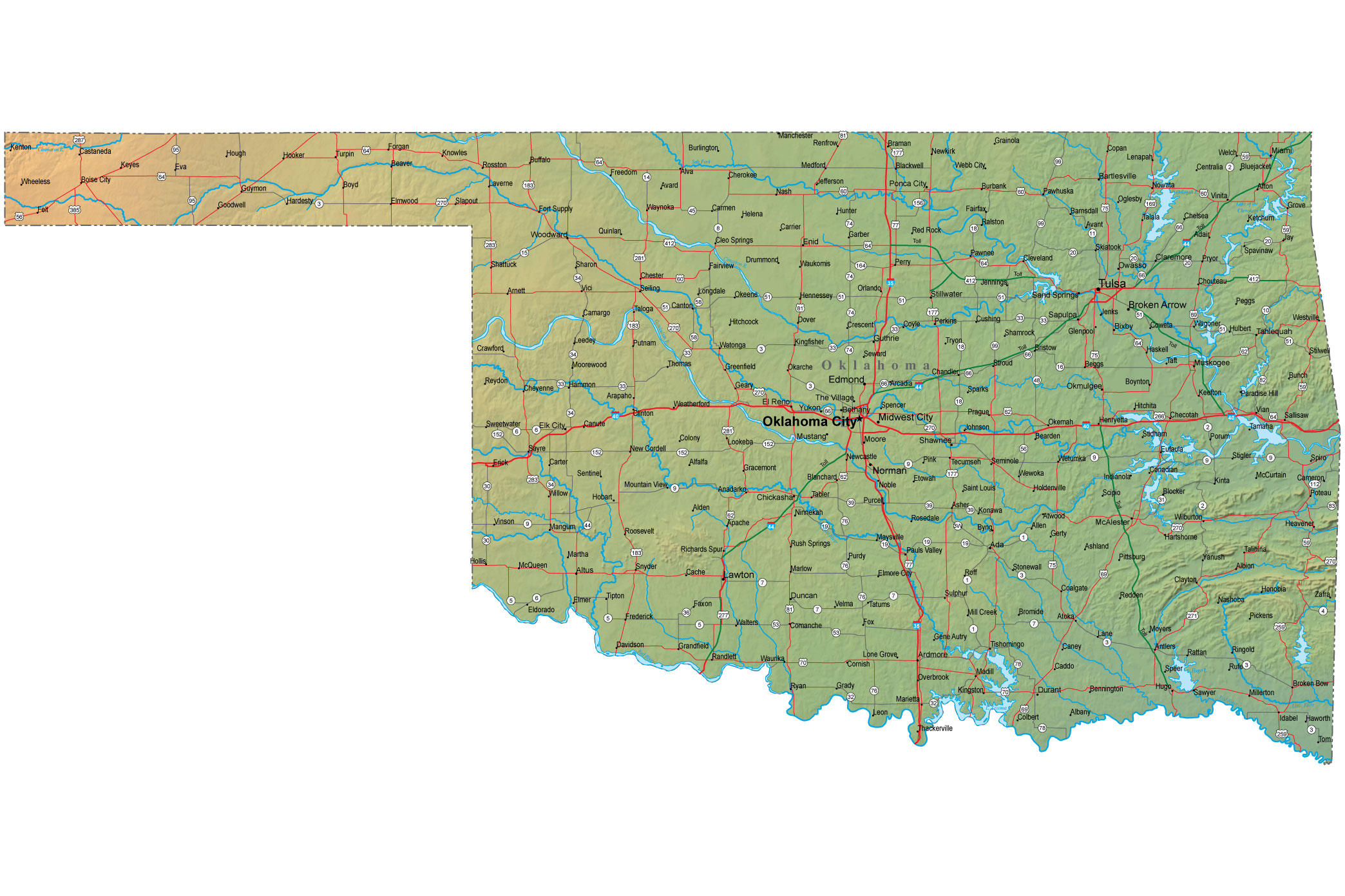 Map Of Oklahoma Oklahoma Maps  Mapsof